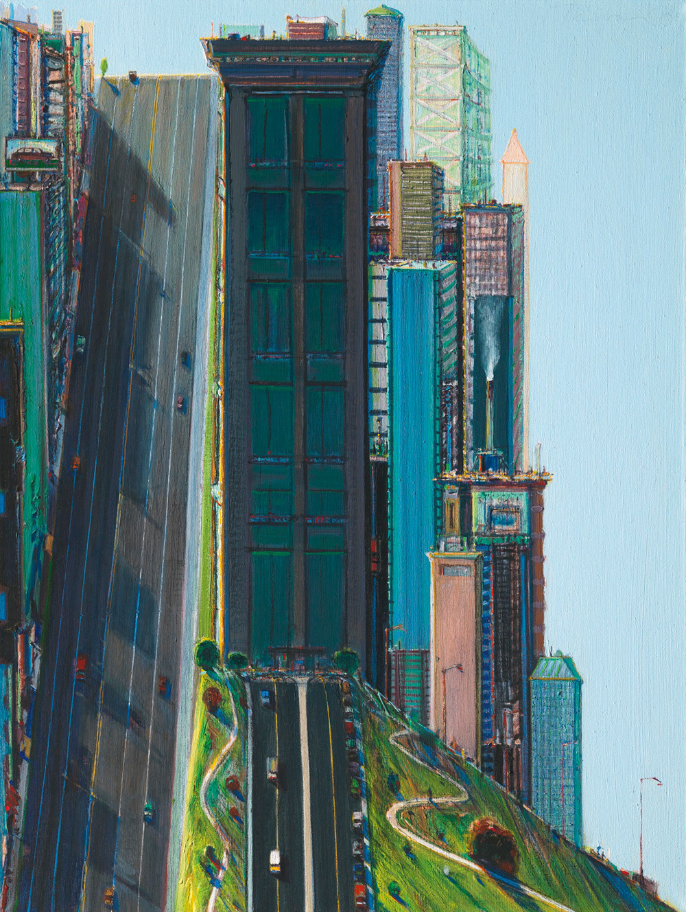 Wayne Thiebaud,  Hill Street (Day City)  1981.
