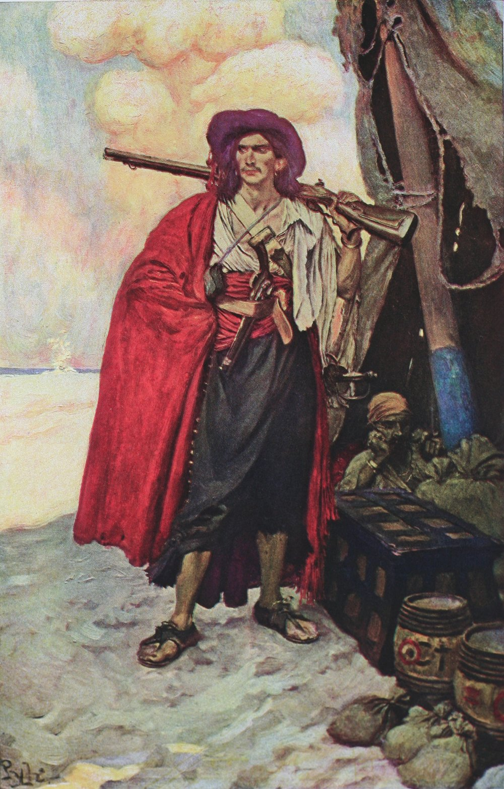 "Howard Pyle,  The Buccaneer was a picturesque fellow, illustration for "" The Fate of a Treasure Town,"" in Harper's Monthly Magazine, December 1905. Better known as  Buccaneer of the Caribbean , republished and so captioned in the posthumous collection,  Howard Pyle's Book of Pirates , 1923. Original painting in the  Delaware Art Museum ."