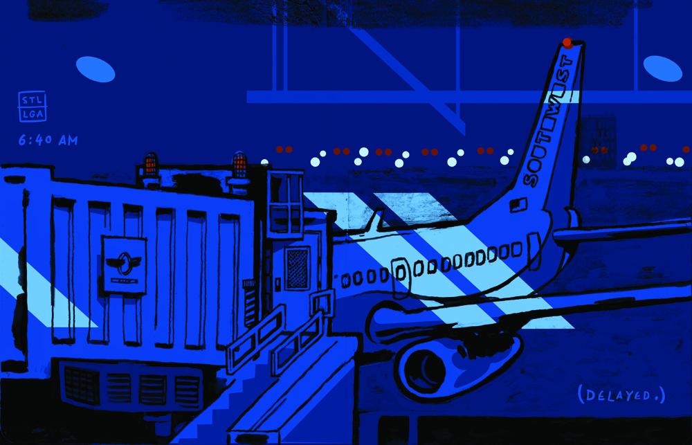 D.B. Dowd, Pre-Dawn Flight to LGA.2011.Gouache and digital color.