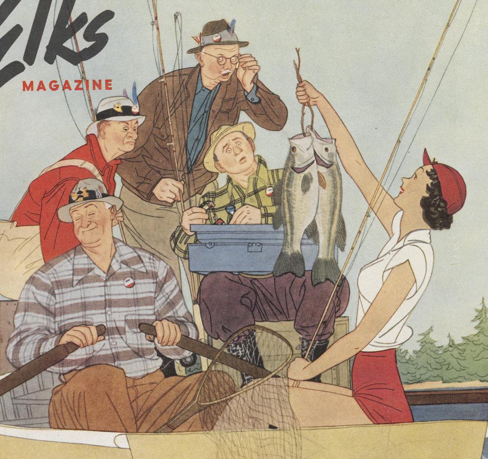 Harry Beckhoff, detail, cover Illustration,  The Elks Magazine,  April 1950.