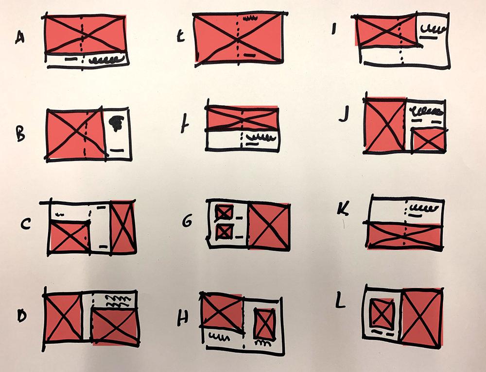 Quickie thumbnails, showing plans for spreads. (Sharpie plus digital color)