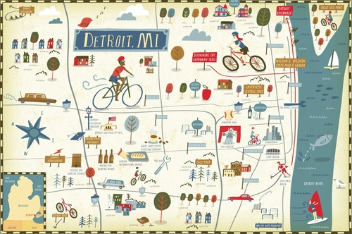 I Draw Maps – Tourist Attractions Map In Detroit