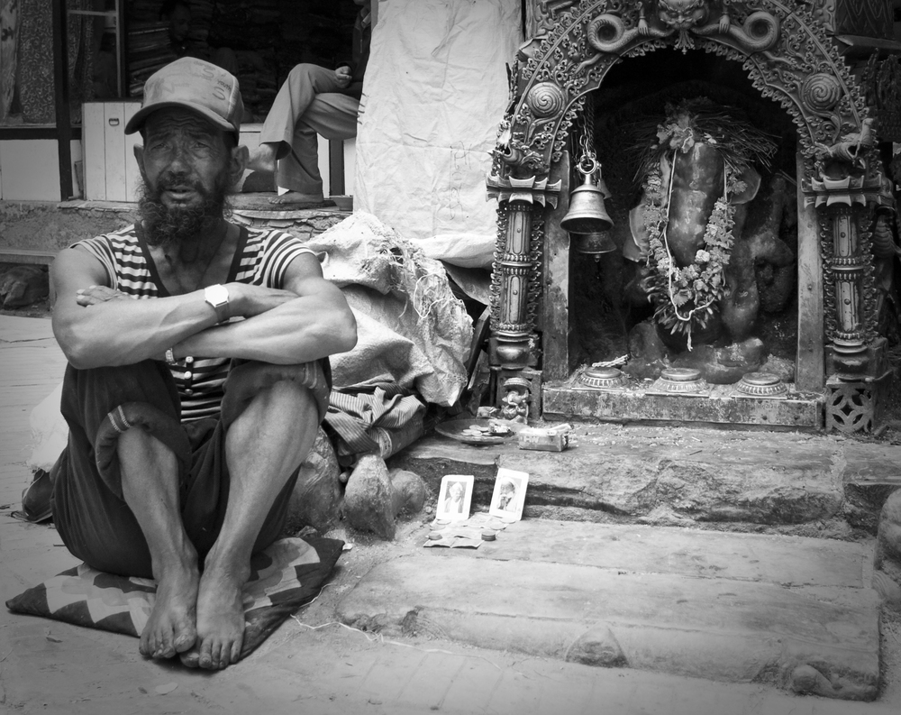 Kathmandu Man With Shrine