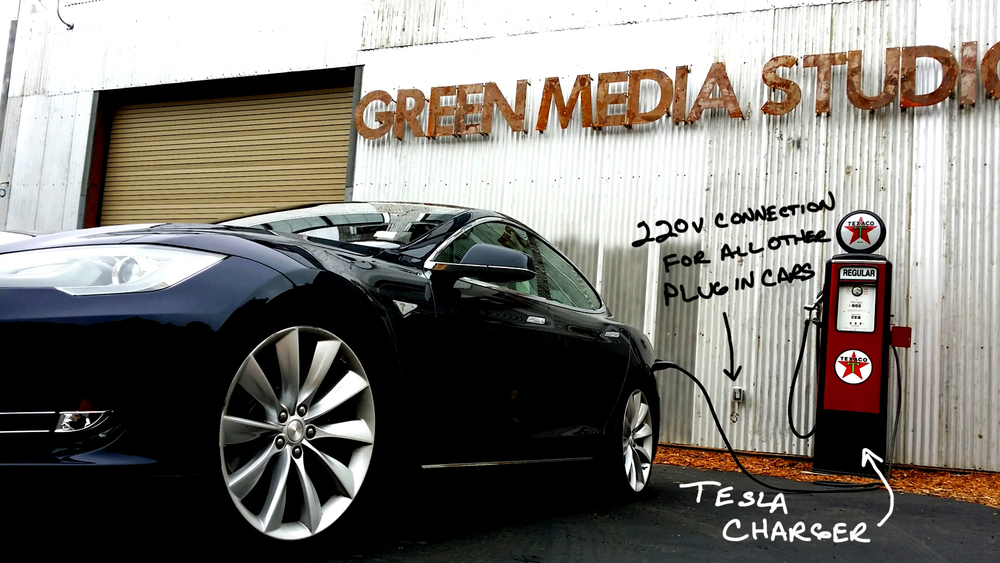 Bring your Tesla or other plug in electric vehicle to the shoot, and know that you will leave with a full charge on the sun!