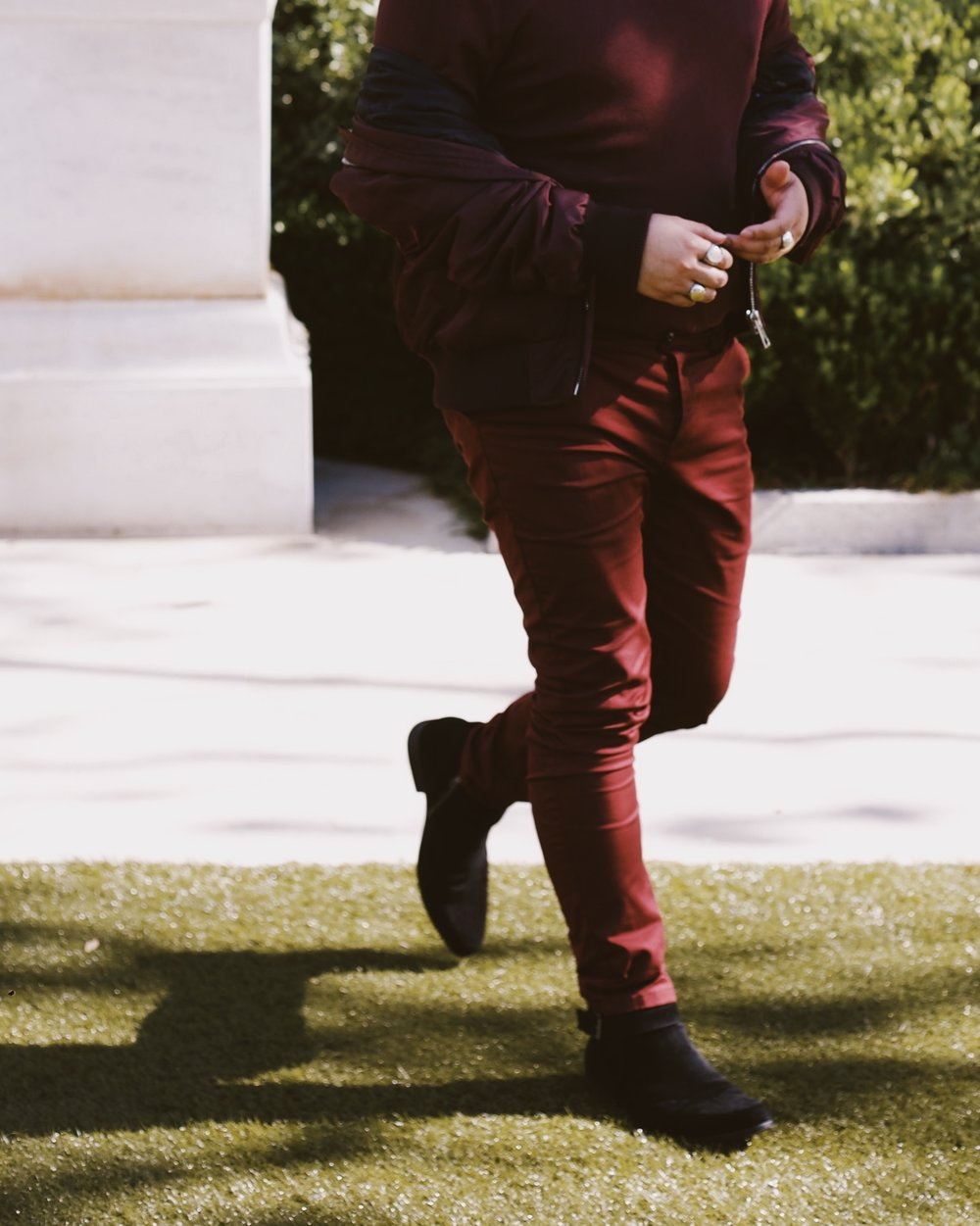 Burgundy - I've been described as a fine wine once upon a time. I took it upon myself to dress the role. It's not head-to-toe Yeezy, but I'll welcome the comparison.