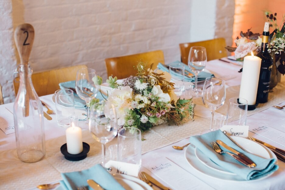 Quirky Venue, Non-traditional wedding planner, London Wedding coordination, Bespoke weddings, Brixton East 1871 Wedding, informal, Stylish wedding, beautiful tablescape, Deborah Grace Photography