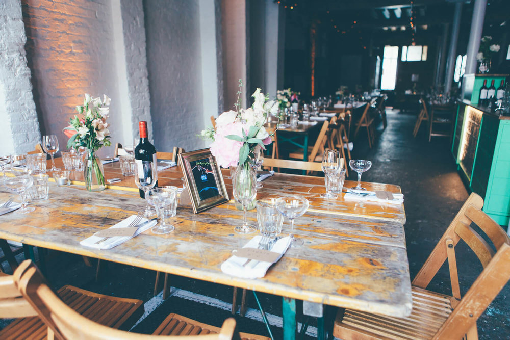 Rustic tablescape, Quirky Venue, Non-traditional wedding planner, London Wedding coordination, Bespoke weddings, Brixton Wedding, Informal,