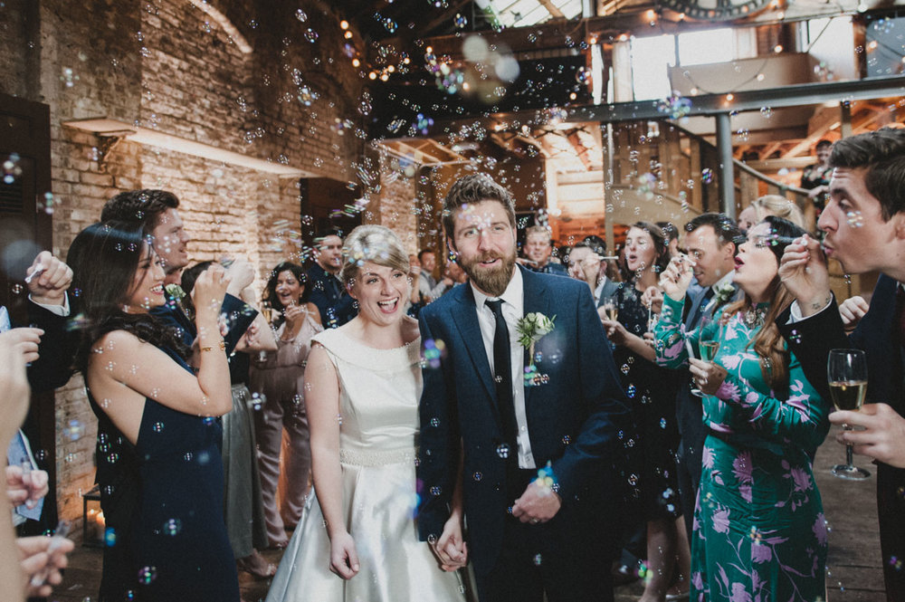 Brixton East 1871 wedding, Bubble archway, Candid photography, Just Married, Stylish wedding, Josh Gooding Photography