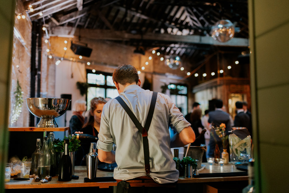 Quirky Venue, Non-traditional wedding planner, London Wedding coordination, Event Bar, Bespoke weddings, Event team, Brixton East 1871 Wedding, Streetfood wedding, informal, Stylish, Worm London