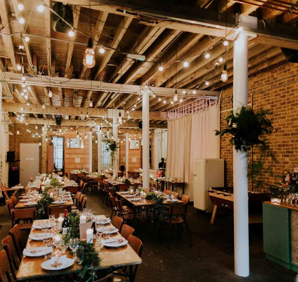 Quirky Venue, Non-traditional wedding planner, dry-hire venue, London Wedding coordination, Event Bar, Bespoke weddings, Event team, Brixton East 1871 Wedding, Streetfood wedding, informal, Stylish