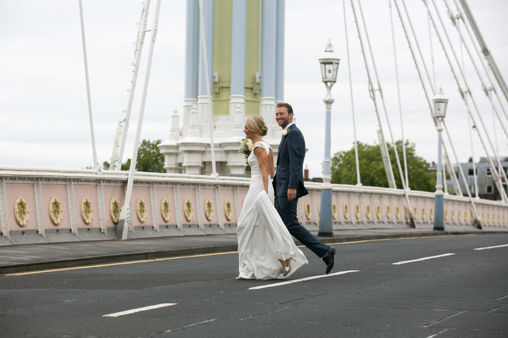 Non-traditional Wedding Planner, London Wedding Coordination, Bespoke weddings, Battersea Park Wedding, Informal, Albert Bridge, Wedding Couple, London Wedding, Iconic London, Dita Rosted Events