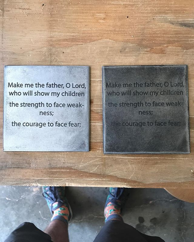 We have been working on some steel engravings for a customer the past couple days. What do y'all think about these engravings?  #steelwork #steel #teamridgid #fullspectrum #kiwisocks #laser #laserengraving #denton