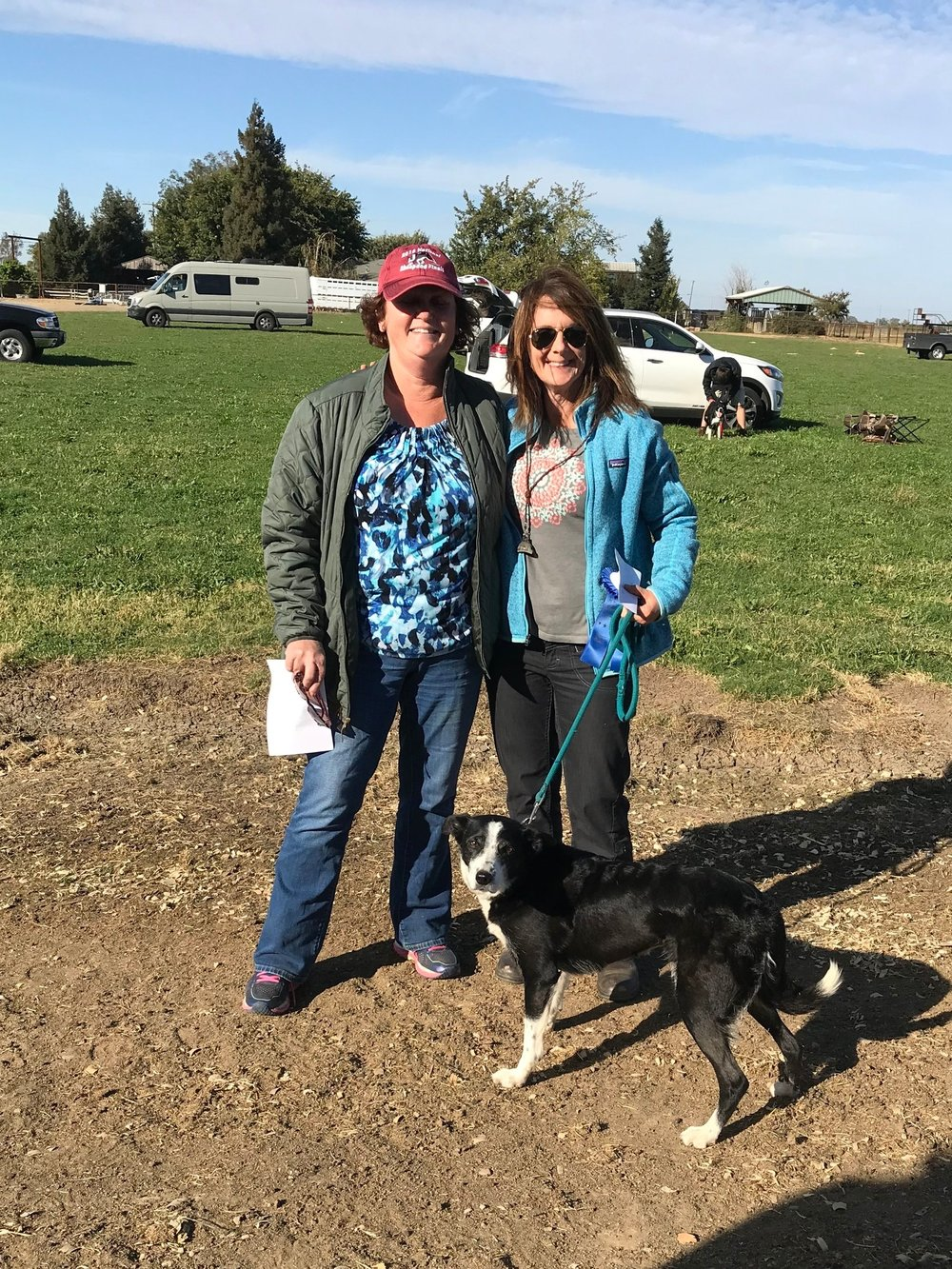 With Judge Sandi Andersen after winning the Point Pleasant Ranch ProNovice Sheepdog Trial