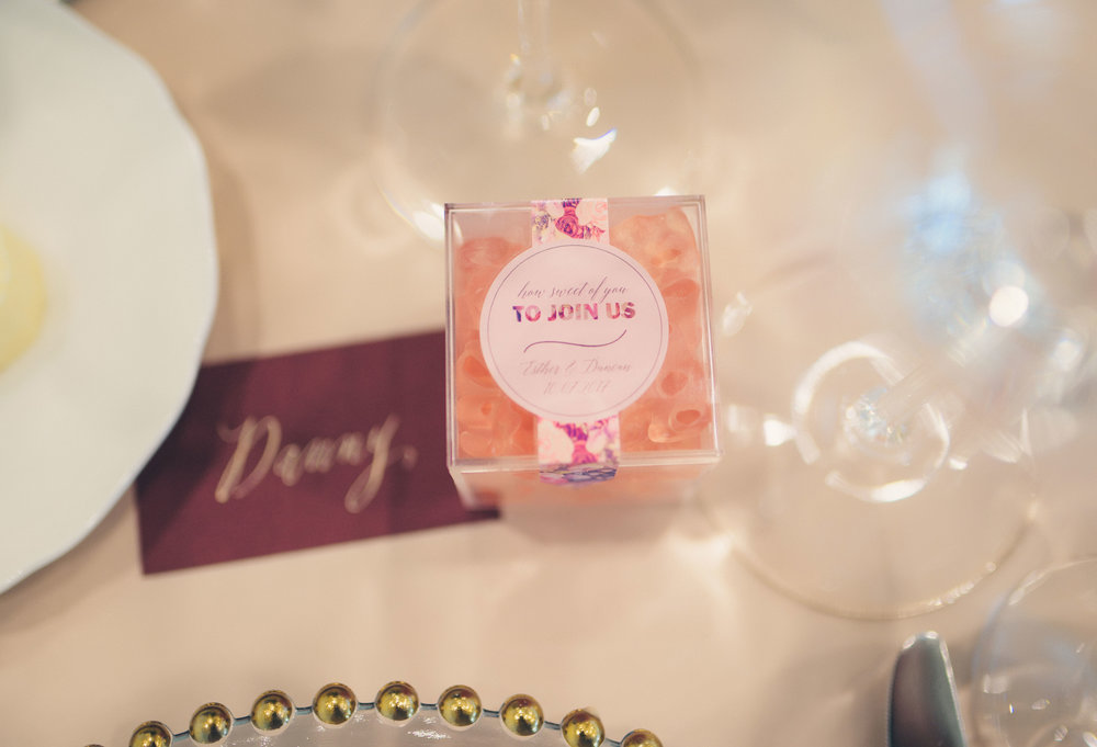 The sweetest gift!  I mean, who doesn't love candy? Customize your candy cubes to match your reception decor, for a sweet take home they'll remember.  Photo:  Taylor Jackson   Candy Cubes:  Sugarfina   Calligraphy:  The Lettering Studio
