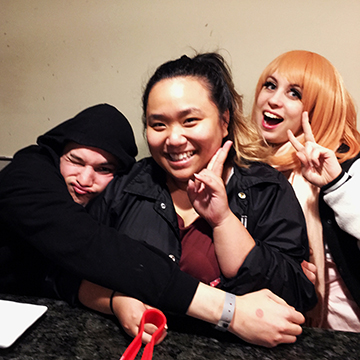 My friends at KBBQ. Phil Mizuno from the Left, Michelle (Toshikigirl) in the middle, and Lissy from WeeboTrash on the Right. I also met one of my friend Hans who cosplayed as mercy. It was good times. <3