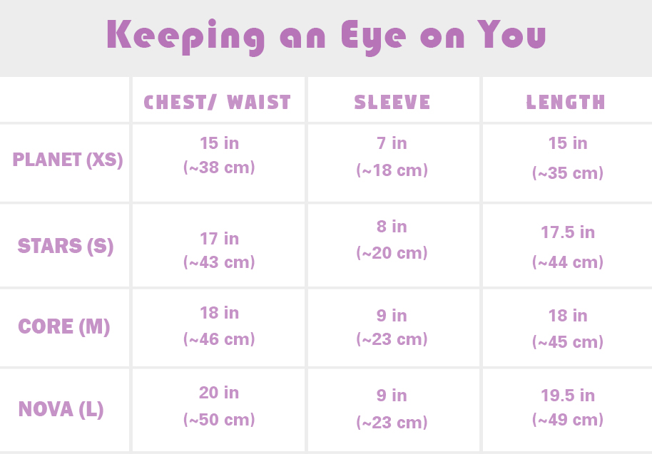 Keeping an Eye on you size chart.