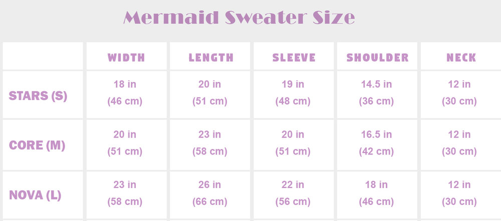 Mermaid Sweater Sizes