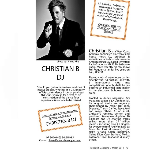 Thank you @PerreaultMag for the feature. Read it now on perreault-mag.com #DjChristianB
