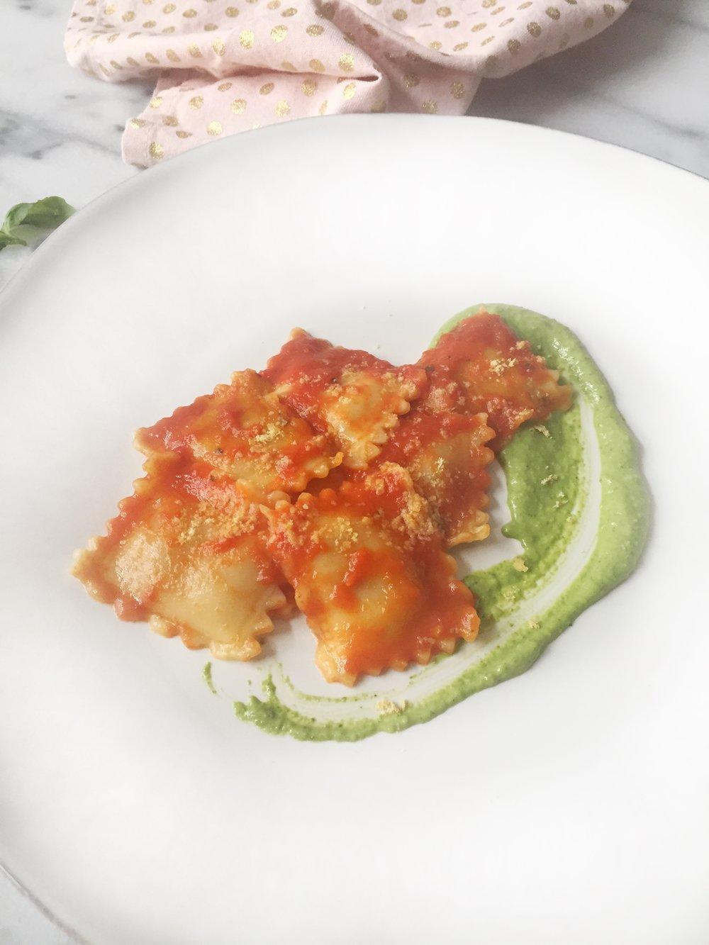 Butternut Squash Ravioli with Creamy Pesto