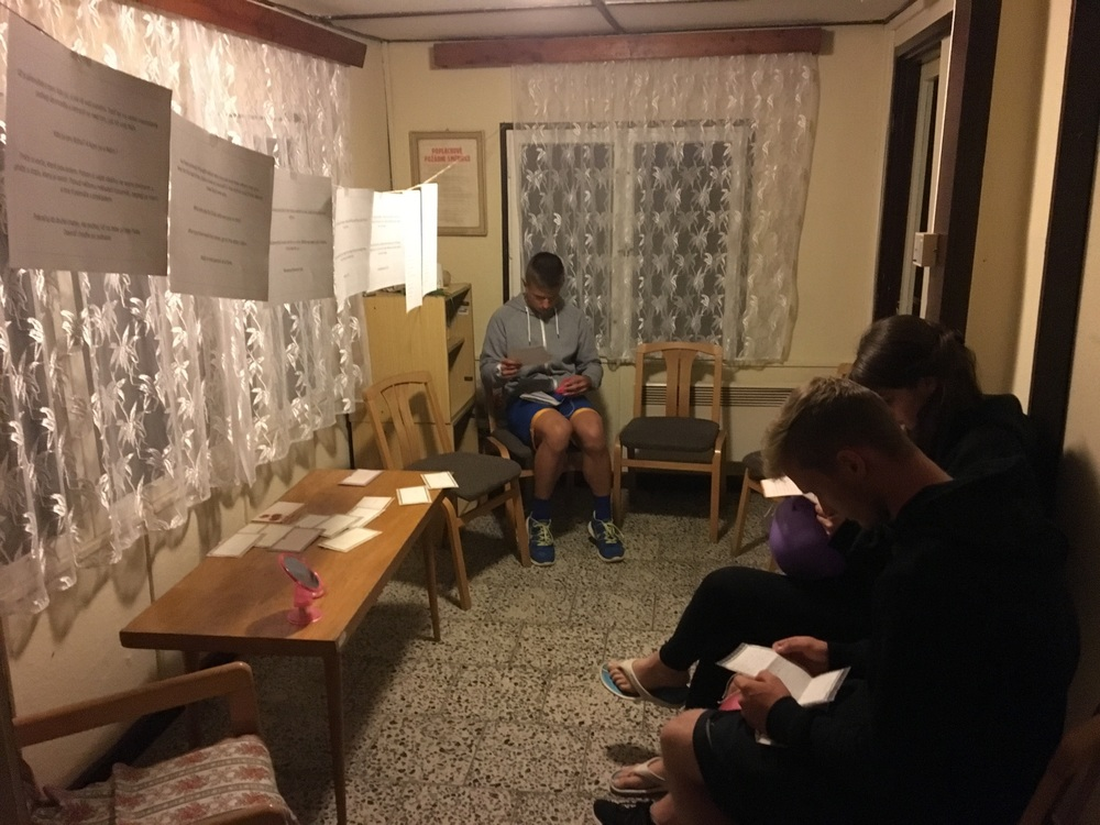 The room (during the evening of reflection) where the students were reading the notes from their group leaders.
