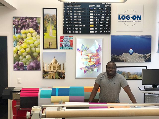 "Jambo! ""My favorite thing about LOG-ON is all of my co-workers that I now call my friends."" Hoclay is our wide format master; but he really does it all - printing, mounting, and trimming wide format, pre-press and design, and installations. Hoclay was born in Tanzania, East Africa and has been in the states for 4 years. He loves that he can get just about any kind of food here and spends a lot of time exploring NY's art museums. #LogOnLegends #LifeAtLogOn"