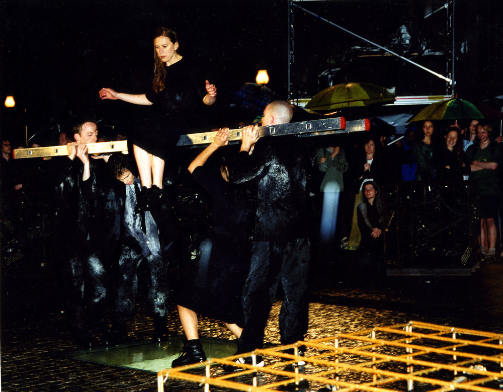 Bebelplatz, Berlin, 1999. Choreography by Sommer Ulrickson, music by Ari Benjamin Meyers, photo by José Giribás Marambio