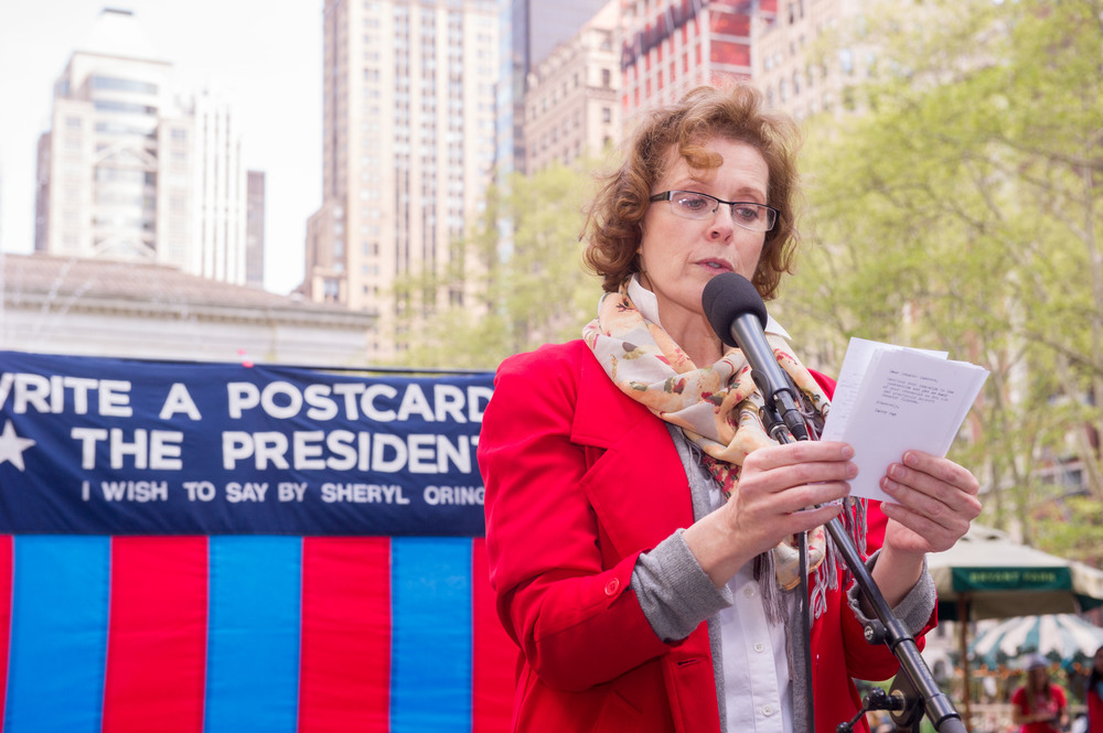 Anne-Marie Cusson reads at Bryant Park. Photo by Christian Carter-Ross.
