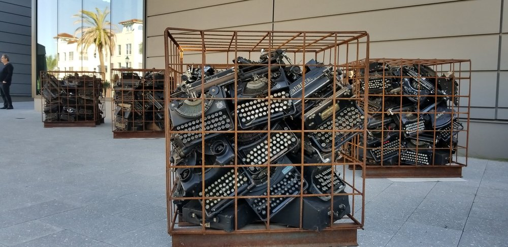 Each of the 18  Writer's Block  sculptures is 36 cubic inches. Photo by Sarah Howard.