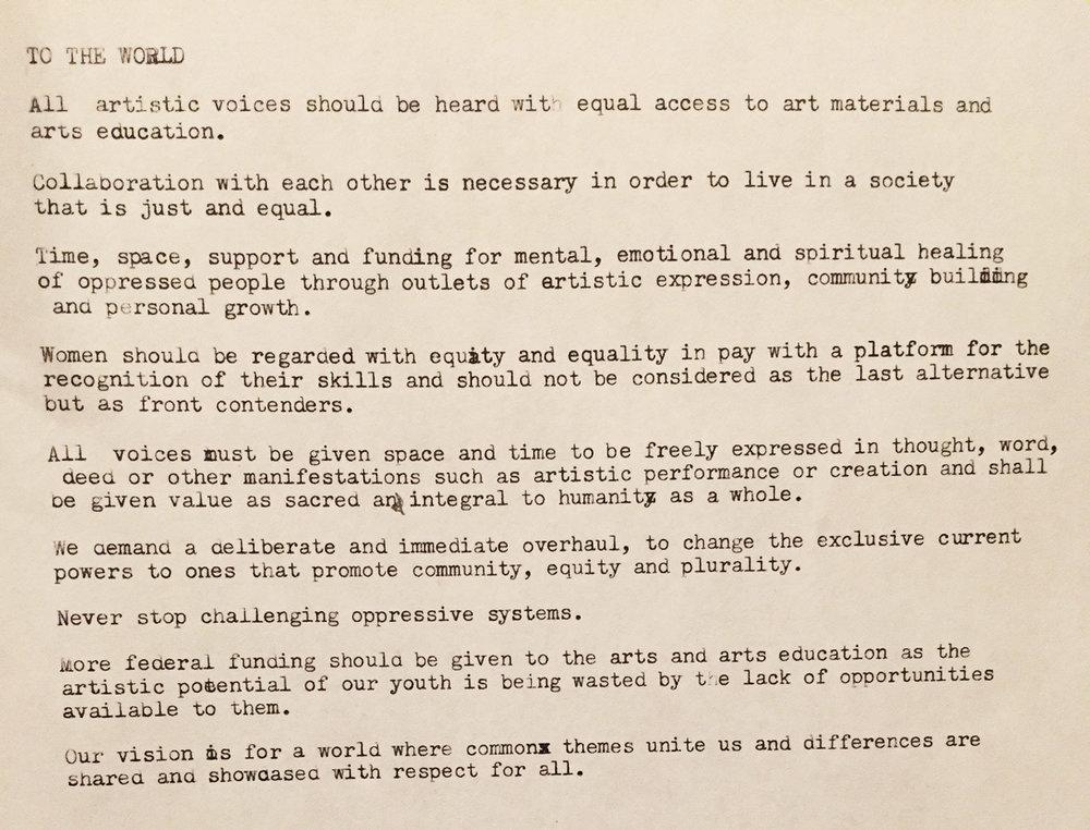 Group manifesto created during a workshop at the University of North Carolina at Greensboro