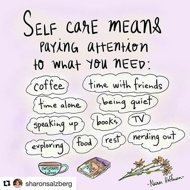 Self Care is so important. I occasionally get asked what it means, because often we've been conditioned not to prioritize it in our lives. Loved this little reminder from Sharon Salzburg.  #Repost @sharonsalzberg ・・・ Time off is the perfect time to recharge. How are you taking care of yourself today? 🌸🤸🏽‍♂️🛁📚🧶👨🏽‍🍳 @oakesandalder  #selfcare