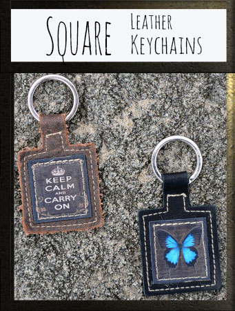 Square Leather Keychains
