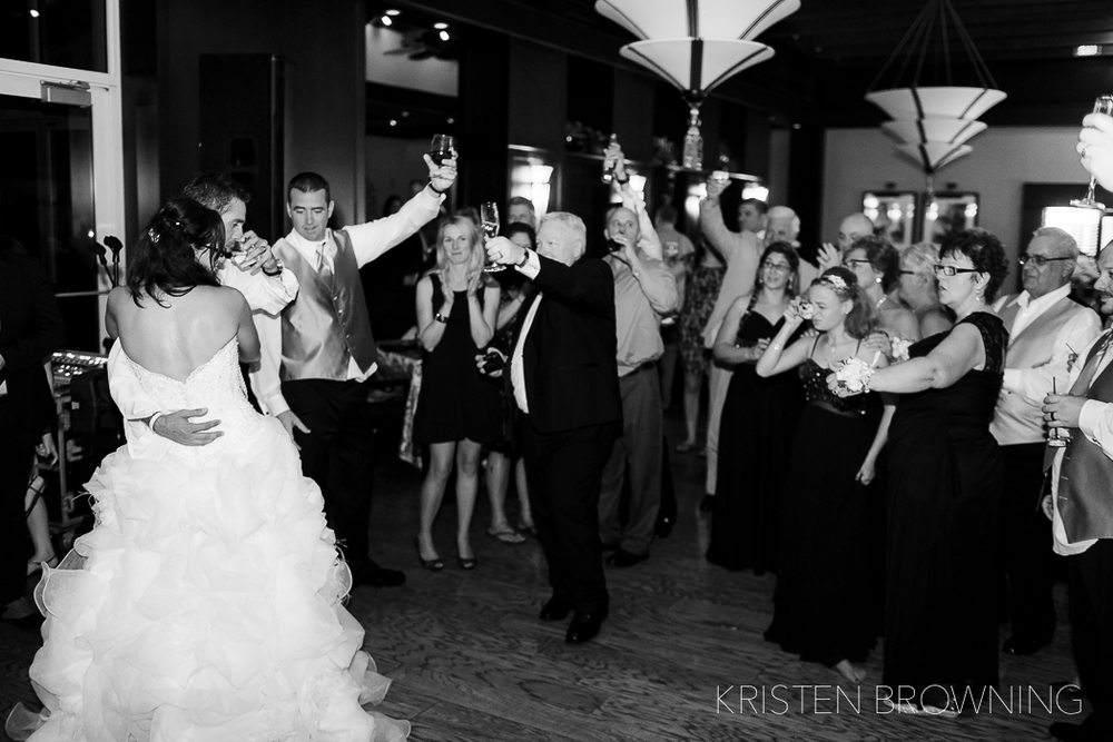 One of the very last images of the night was a toast that was made by the groom. This room was filled with love, laughter and fun from very close friends and family! To see more photos from Christine and Mike's wedding day, click the link below:   http://video214.com/play/FpjUm7LYUZPez3sHtEDDyg/s/dark