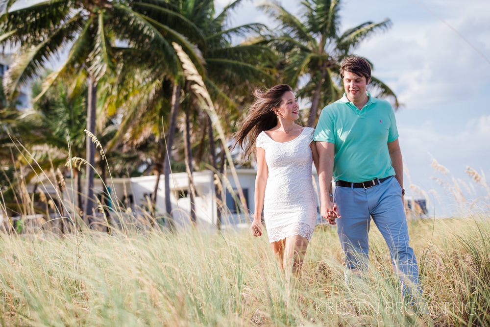 deerfield-beach-engagement-photos-palm-trees-white-dress-green-polo-shirt
