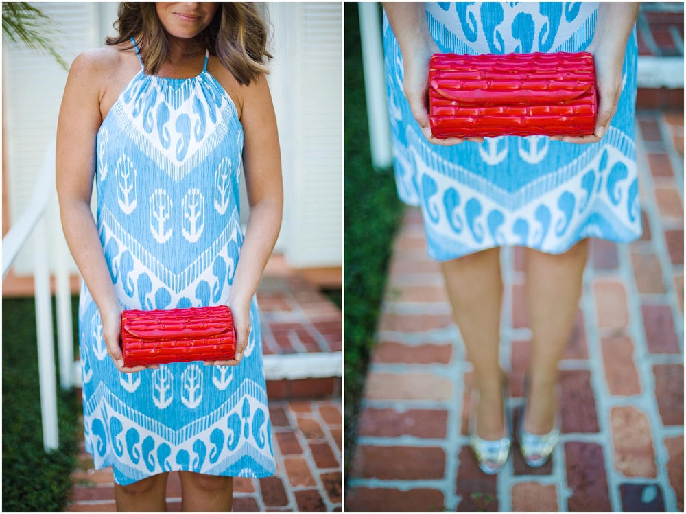 blue-and-white-dress-red-clutch-engagement-photos