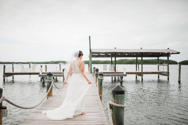 Bride on dock Coconut Palm Inn in Tavernier, Fl