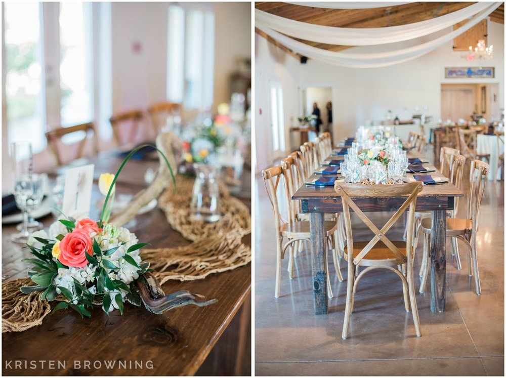 Rustic wedding decor with nautical accents