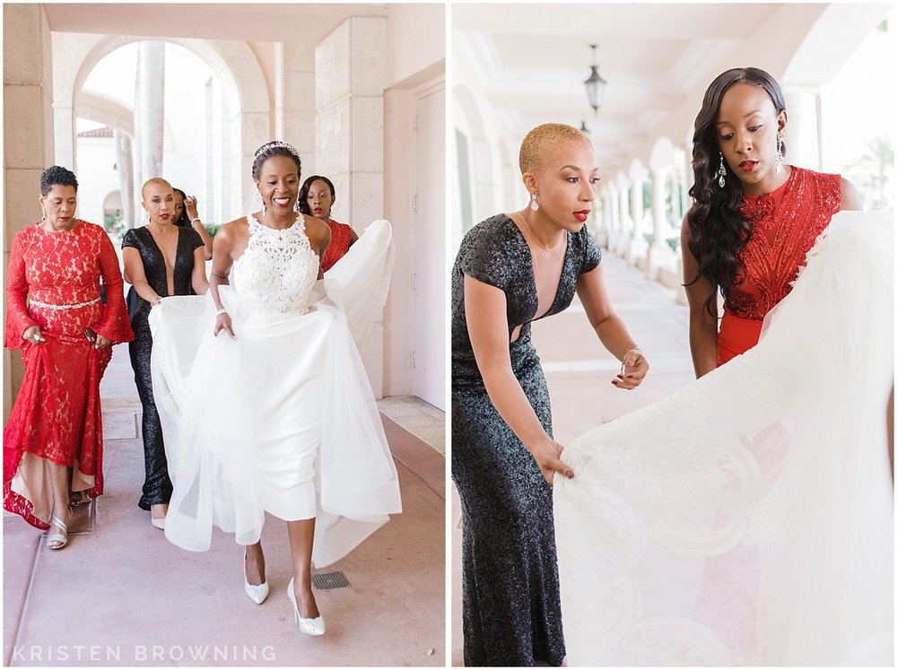 Her girls carried her dress for her so it wouldn't get dirty.
