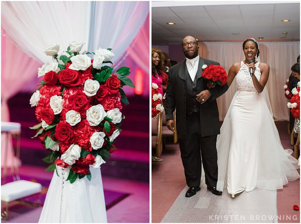 Andrea sang flawlessly as she came down the aisle to meet her groom.