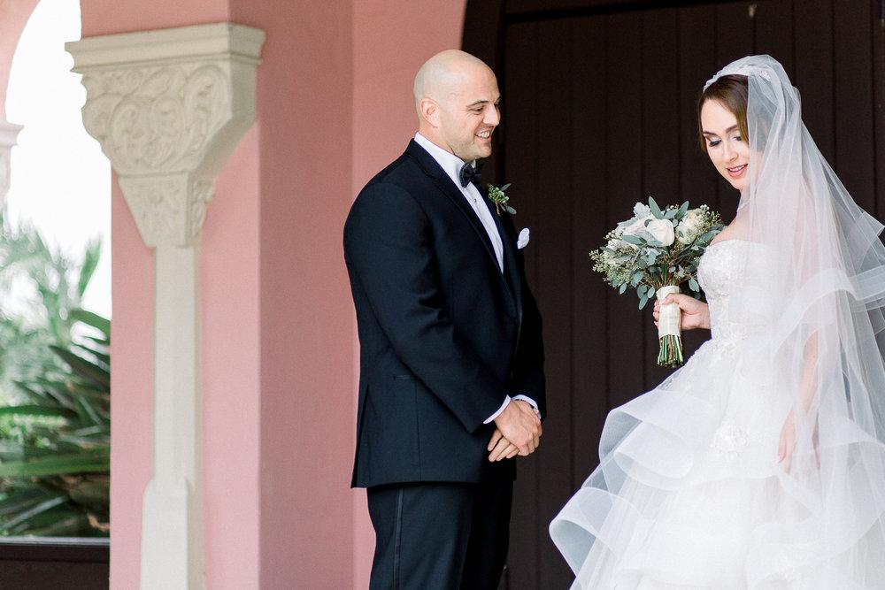 first look in Monique Lhuillier wedding dress at boca resort hot