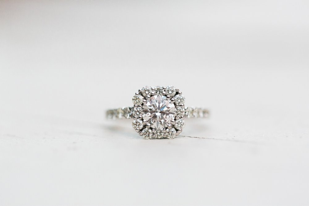 Elegant solitare diamond ring with halo in Jupiter Florida