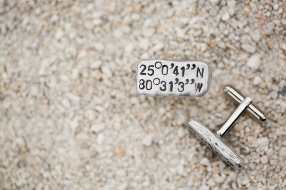 Coordinate cufflinks from wedding at Coconut Palm Inn
