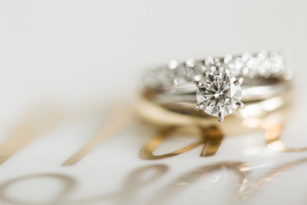 Wedding bands lay on top of each other at Coconut Palms Inn