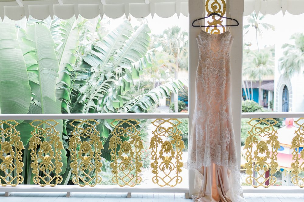 lace wedding gown displayed at the Bonnet House in Fort Lauderdale