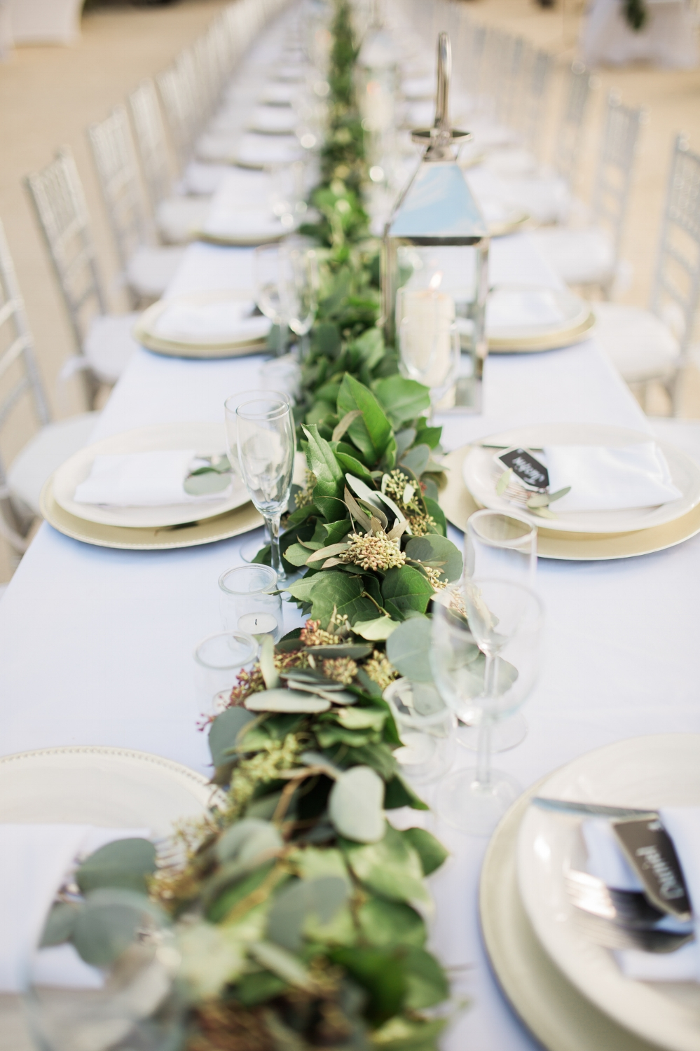 Eucalyptus garland on table at Coconut Palm Inn