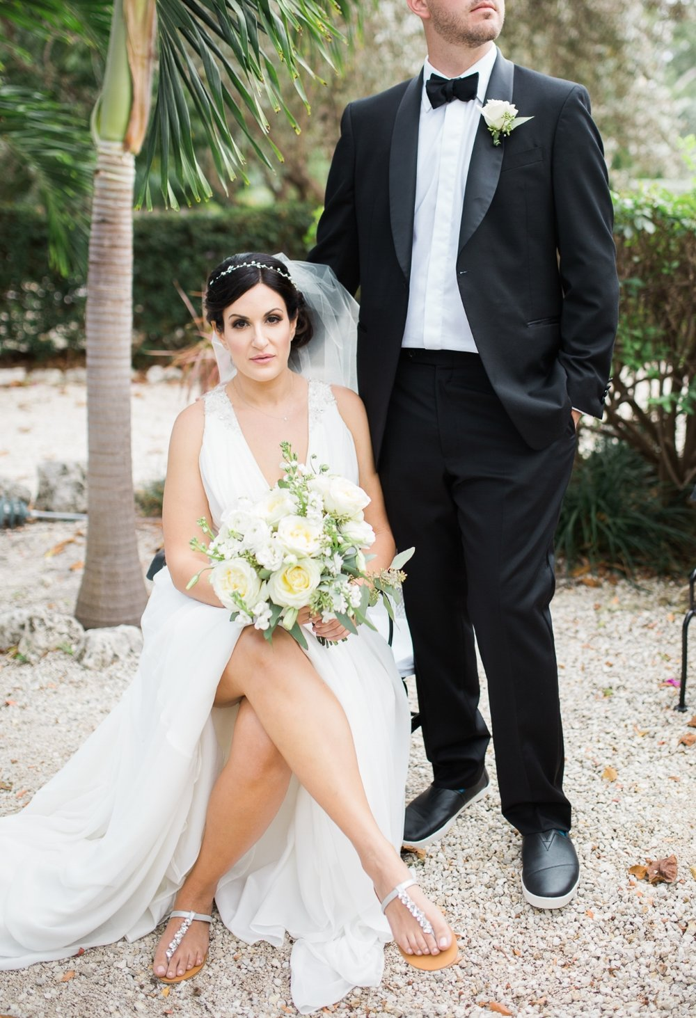 Bride and groom portrait at Coconut Palm Inn