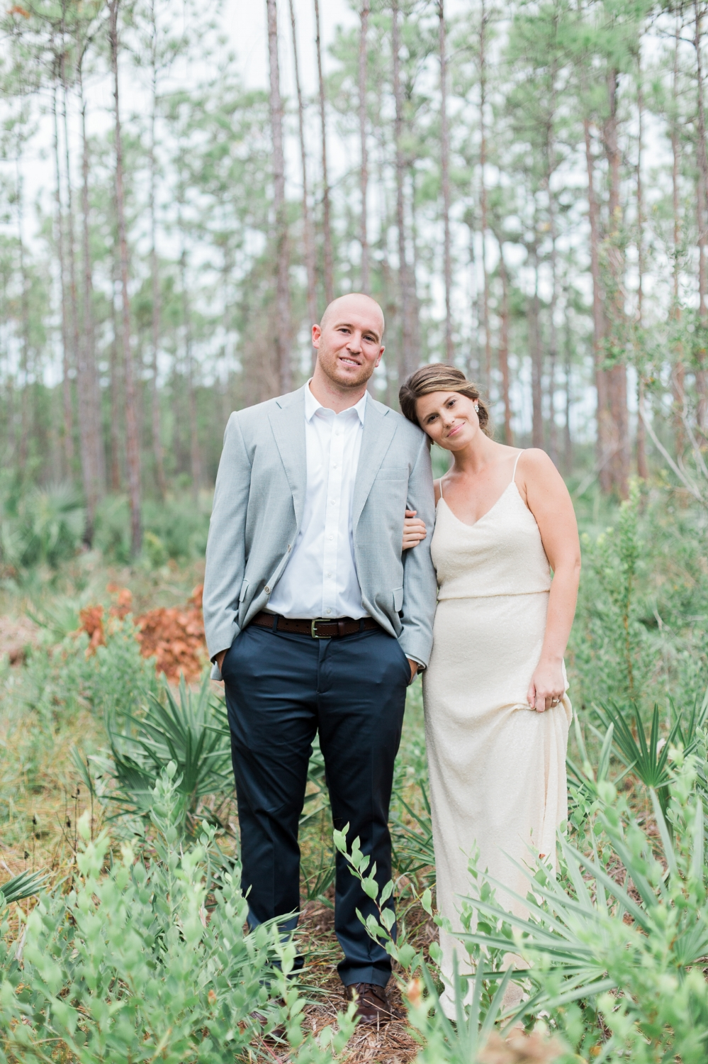 Portrait of bride and groom at outdoor rustic wedding at Oxford Eco Center