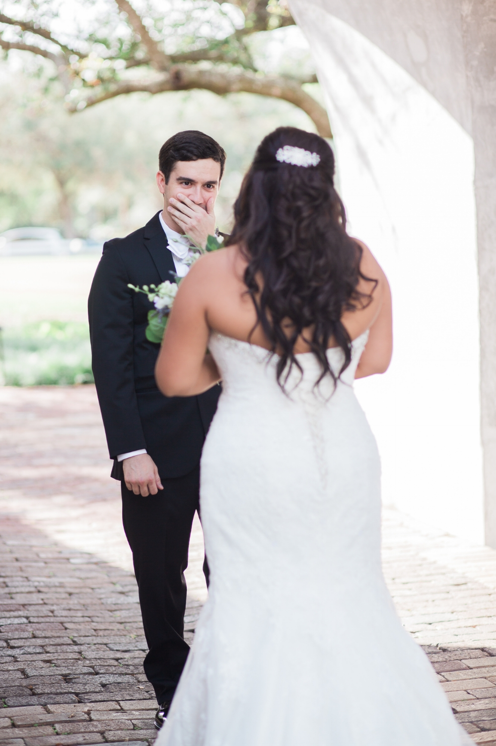 Groom sees bride for the first time at Casa Feliz