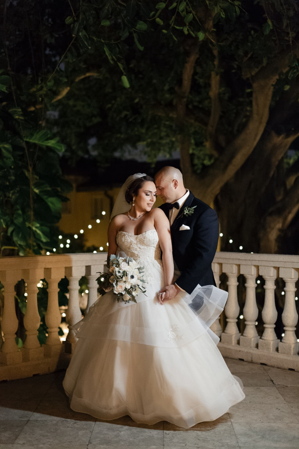 Bride and groom nighttime portrait at the Addison in Boca Raton