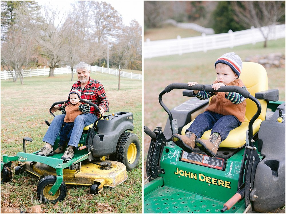Easton loved riding on the mower!