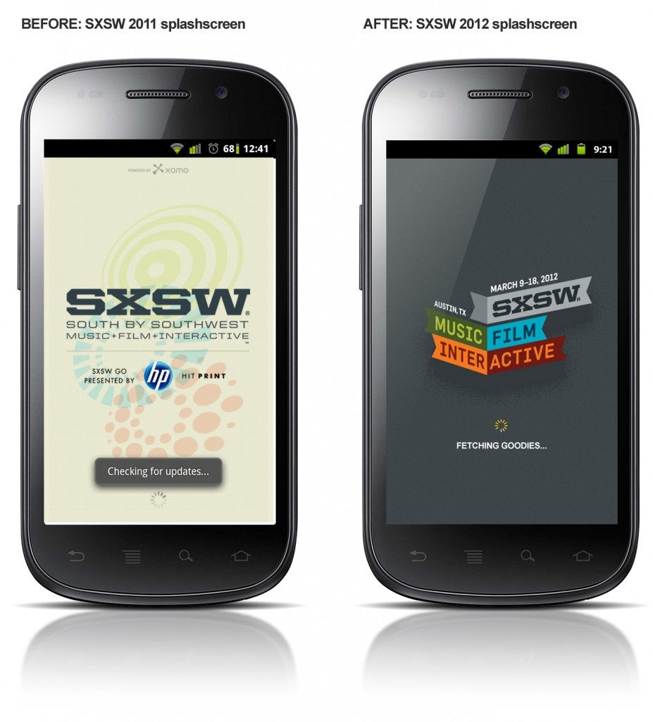 SXSW 2011 / SXSW 2012 Mobile App Splash screens